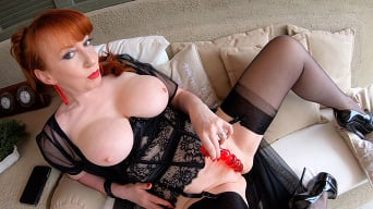 Red XXX in 'Pleasured on the Patio!'